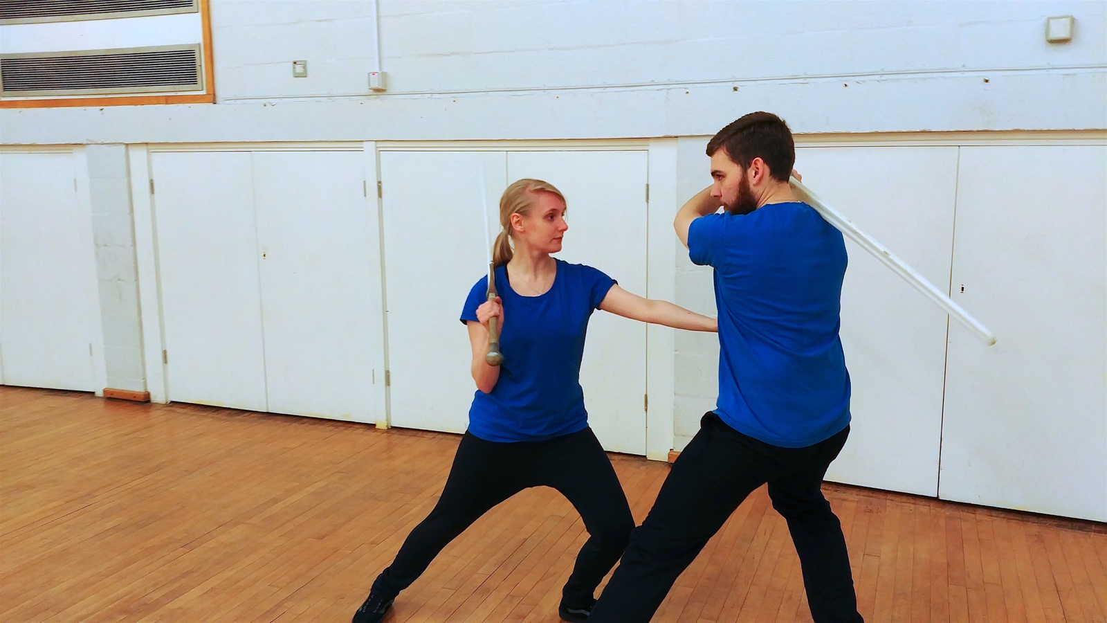Jodie and Ben practising body structure and the ability to move through resistance. Photo by Keith Farrell, 2018.